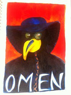 OMen - painting, ecoline, 29x42cm