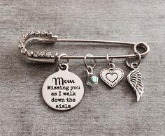 Personalized, Missing you as I, Walk down the Aisle, Memorial, Mom, Dad, Grandma, Grandpa, Silver Brooch, silver kilt pin, Wedding Jewelry by SAjolie, $27.95 USD