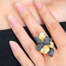 Schwarz gold Blüte Blume Glamour Design Ring Ø 17,25 18,25 18,5 mm neu Black Rhodium, Glamour, Floral, Flowers, Jewelry, Design, Black Gold, Ring, Jewellery Making