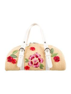 Limited Edition. Tan Raffia Christian Dior bowler bag silver-tone hardware, raffia floral appliqué at exterior, beaded embellishments at exterior, white leather trim, single flat handles, taupe Diorissimo print woven lining, three pockets at interior walls, single zip pocket and zip closure at top. Shop authentic designer handbags by Christian Dior at The RealReal.