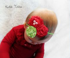 Christmas red and green, Headband, newborn, baby, infant, girl, child, toddler, photo prop, holiday, green polka dots, pearls via Etsy