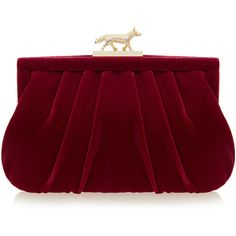 Wilbur & Gussie Lily Fox Burgundy Velvet Clutch Bag ($175) ❤ liked on Polyvore featuring bags, handbags, clutches, burgundy, lily purses, chain handbags, red purse, velvet purse and wilbur & gussie
