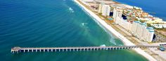 Aerial view, courtesy of Navarre Properties Navarre Beach Florida, Florida Beaches, Sandy Beaches, Aerial View, Travel Ideas, Beach House, Coast, Cottage, Spaces