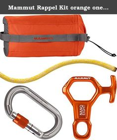 Mammut Rappel Kit orange one size. From the classic Titlis tour in Switzerland to the steep couloirs of Chamonix in France: Rappelling sequences have become an interesting component of ambitious freeride descents and ski tours. The Mammut® Rappel Kit contains everything you need for these rappelling maneuvers: the robust and safe 6.0 Rappel Cord, the practical Wall Micro Oval and the unbeatably light Nano 8. These items of equipment are stored in a handy space-saving bag, within easy…