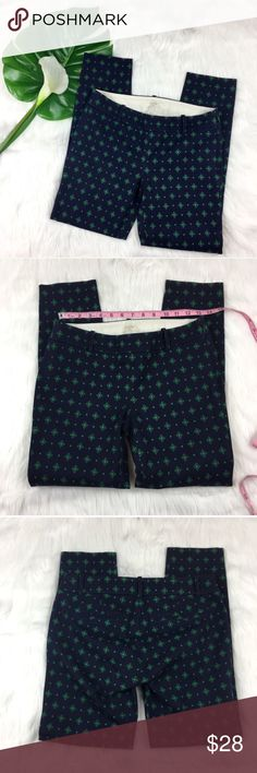 J.Crew Factory Winnie Pants J.Crew Factory Winnie Pants. Size 0 with 25' inseam and 71/2' rise. Pre-owned condition with no major flaws. Was recently dry cleaned and pressed. They are a navy blue with green print. Stock photo for fit not print. ❌I do not Trade 🙅🏻 Or model💲 Posh Transactions ONLY J. Crew Factory Pants Ankle & Cropped