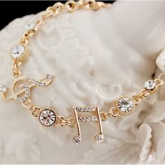 Exquisite Musical Note Crystal Alloy Gold Plated Women's Bracelet - USD $15.95 : EverMarker.com