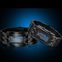 Mens Watches Fashion Blue Light Led Binary Watch Men Sports Digital Electronic Watches Stainless Steel Mesh Band Watch Be Friendly In Use Men's Watches Watches