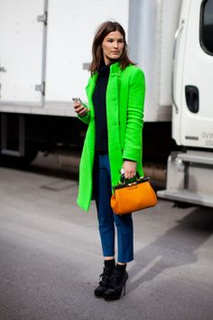 Hanneli Mustaparta how do I love you in this neon topper? So many different ways I cannot count? Bringing it. For the win on a drab winter day. #NYFW