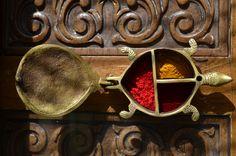 Antique brass tikka box.
