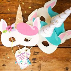 Printable pretty pastel unicorn birthday party masks. These unicorn masks are designs so the boys are able to have fun with these too and there is a girl design with flowers in the unicorns hair to add a pretty touch.  With this design you will receive a set of masks with a unicorn horn and without, so if you wish to make your own horns and stick them on, you are able to do this and craft away!  These fun unicorn masks add the special magical touch to your unicorn party to give your little…