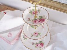 upcycled plates excellent condition 3 tier tea stand by Royal Albert and Royal Worcester pink themed stand with floral borders on plates