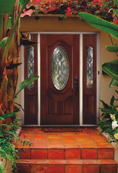 Fancy Front Entry Doors Decorated Presenting Beautiful View: Awesome Front Entry Door With Small Garden Design