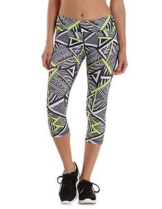 Geometric Print Active Capri Leggings: Charlotte Russe #fitness #workout #active