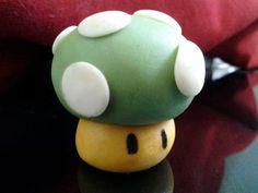 1UP super mario mushroom fondant cake toppers/cupcake by StudioKat, $18.00