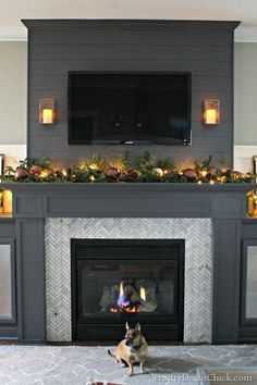 Gray fireplace and built ins.
