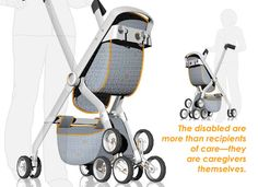 The OBaby stroller was designed for people suffering from muscular degenerative diseases as well as elderly grandparents who need to use a walker while still caring for young children. The stroller doubles as a walking aid, supporting the weight of the user.