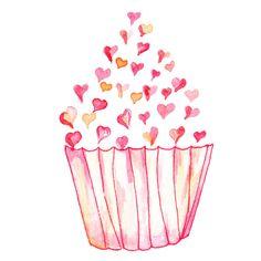 Watercolor Sweet Heart Cupcake by OrangePeelPapery on Etsy