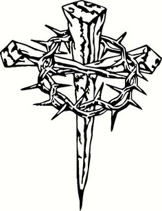 Vinyl Cross with Crown of Thorns by BigDDesign on Etsy, $4.00