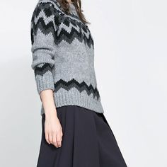Price:$27.99 Color: Gray  Material: Woolen European Style Wavy Stripe Print Knit Sweater