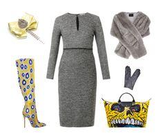 Would you? (Sportmax dress, Coast Elayne Faux Fur Wrap, Longchamp bag, London Trash Lorelei boots, brooch by House of April)