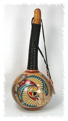 Wolf Medicine Ceremonial Rattle ~ Wolf Medicine brings a high sense of loyalty and strength, especially to family & children. Great social skills, friendly, and gregarious. Ability of incredible strength, stamina, & communication both in physical & Spiritual realms. Naturally creative, noble, passionate, with the ability of profound understanding.