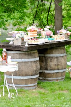Barrel Dessert Table! Picnic in the Park by Kara Allen | Kara's Party Ideas in NYC