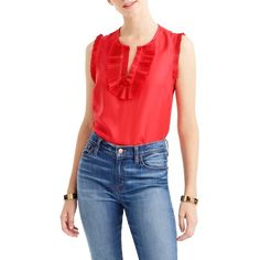 Women's J.crew 'Margot' Silk Top ($68) ❤ liked on Polyvore featuring tops, festival red, petite, red ruffle top, red silk top, flutter-sleeve top, silk ruffle top and frilly tops