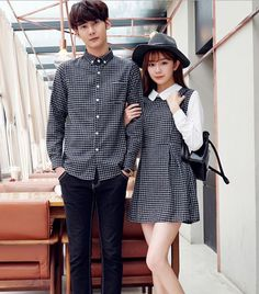 Pin by Casey Glenn on My Style in 2019 Matching Couple Outfits, Twin Outfits, Matching Couples, Fashion Couple, Boy Fashion, Fashion Dresses, Korean Fashion, Dresses For Teens, Outfits For Teens