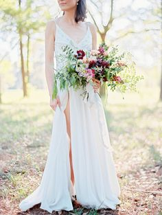 That dress! http://www.stylemepretty.com/little-black-book-blog/2015/07/02/ethereal-forest-bridal-inspiration/   Photography: Ryan Ray - http://ryanrayphoto.com/