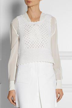 Miu Miu | Crochet-knit cashmere top | NET-A-PORTER.COM