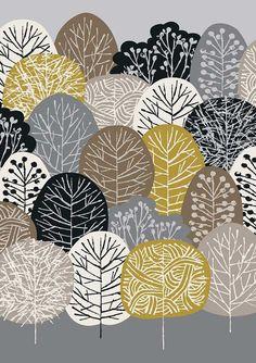 Bosque de otoño láminas de edición limitada grabado