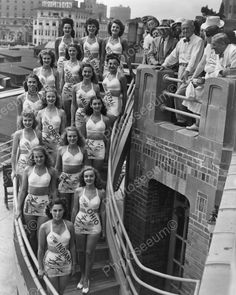 Beauty Pageant Contestants On Stairs 8x10 Reprint Of Old Photo