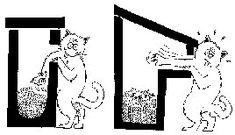 Chat qui attrape les oiseaux d'un nichoir mal conçu. (c) La Hulotte.