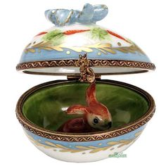 Rochard Colorful Egg with Bow Limoges Box and Bunny Inside.