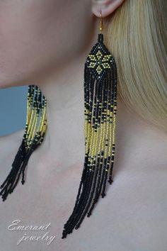Long seed bead earring Black fringe earring Shoulder duster earrings seed bead jewelry beadwork Black gold jewelry - Famous Last Words Seed Bead Jewelry, Bead Jewellery, Seed Bead Earrings, Fringe Earrings, Diy Earrings, Beaded Jewelry, Beaded Bracelets, Hoop Earrings, Jewelry Findings