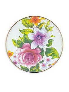 MacKenzie-Childs Flower Market Salad/Dessert Plate - White