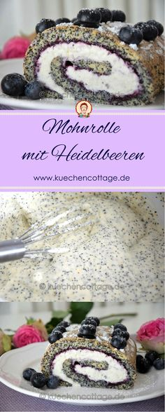 Mohnrolle mit Heidelbeeren Look out for the sweet tooth! You can safely enjoy this airy, light berry Healthy Vegan Desserts, Easy Desserts, Vegetarian Recipes, Sweet Recipes, Cake Recipes, Food Tags, Cheesecake, Dessert Decoration, Cakes And More