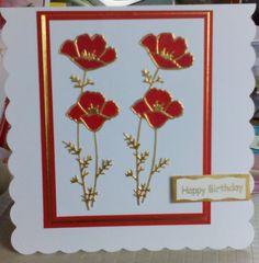 Handmade card using poppy die