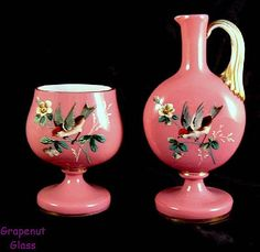 Antique 1870s Bohemian Cased Enamel Pitcher and Footed Bowl, GVS Ruby Lane Sale Jan 12-13
