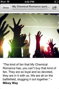 Mikey on My Chemical Romance fans Mcr Quotes, Mcr Memes, Band Quotes, Band Memes, Emo Bands, Music Bands, I Love Music, My Music, Mikey Way