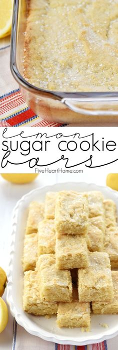 Lemon Sugar Cookie Bars ~ flavored with lemon zest and topped with crunchy sparkling sugar for a sunny, yummy, easy-to-make treat! Lemon Sugar Cookies, Sugar Cookie Bars, Cookie Brownie Bars, Lemon Cookies Easy, Cookie Jars, Cookie Recipes, Baking Recipes, Dessert Recipes, Lemon Recipes