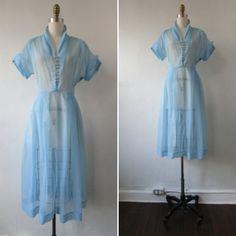 1950s dress | vintage 50s dress | sheer blue and tiny white polka dot dress | vintage day dress | large - xlarge | Blue Morning Light Dress by VivianVintage8 on Etsy