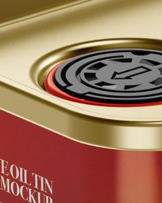 Olive Oil Tin Can Mockup - Halfside View (Close-Up)