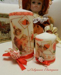 К Дню Святого Валентина набор свечей. Декупаж, ленты, цветы, ручная работа.