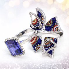 An elegant blue stone to play with, to be worn solo or adorned by micromosaic butterfly wings for an outstanding, colourful look. Ring Video, Butterfly Wings, Jewels, Play, Stone, Elegant, Rings, Color, Classy
