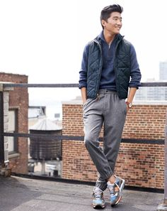 J.Crew men's Broadmoor quilted vest, donegal half zip sweater, donegal sideline pant, and New Balance for J.Crew 998 sneakers. To preorder call 800 261 7422 or email erica@jcrew.com.