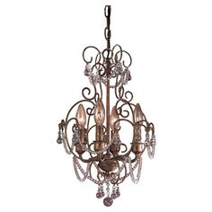 Mini chandelier with beaded accents and scrollwork detail.  Product: Mini chandelierConstruction Material: Metal...