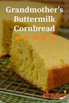 Grandmother's Buttermilk Cornbread - - This is my grandmother's cornbread recipe and it's the best - sweet and moist! Buttery Cornbread Recipe, Sour Cream Cornbread, Moist Cornbread, Buttermilk Cornbread, Homemade Cornbread, Buttermilk Recipes, Sweet Cornbread, Cornbread Recipes, Homemade Breads