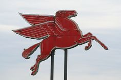 Vintage Mobil Gas Station Pegasus Sign