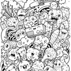 kawaii coloring - Google Search Doodle Art Drawing, Zentangle Drawings, Doodles Zentangles, Art Drawings, Cool Doodles, Kawaii Doodles, Kawaii Art, Doddle Art, Doodle Monster